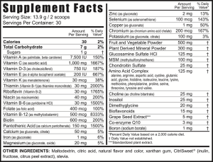 Beyond Tangy Tangerine Supplement Facts